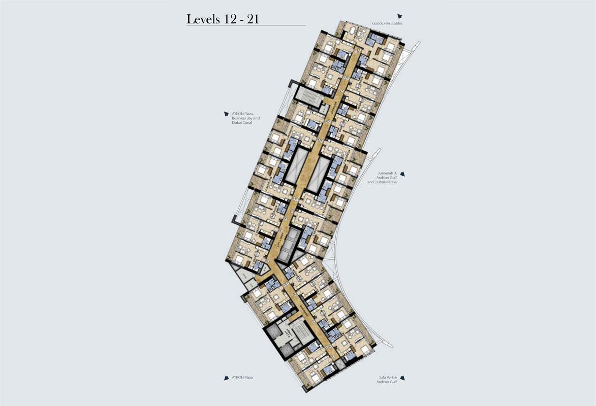 مخطط طوابق نموذجي، المستوى -12-21