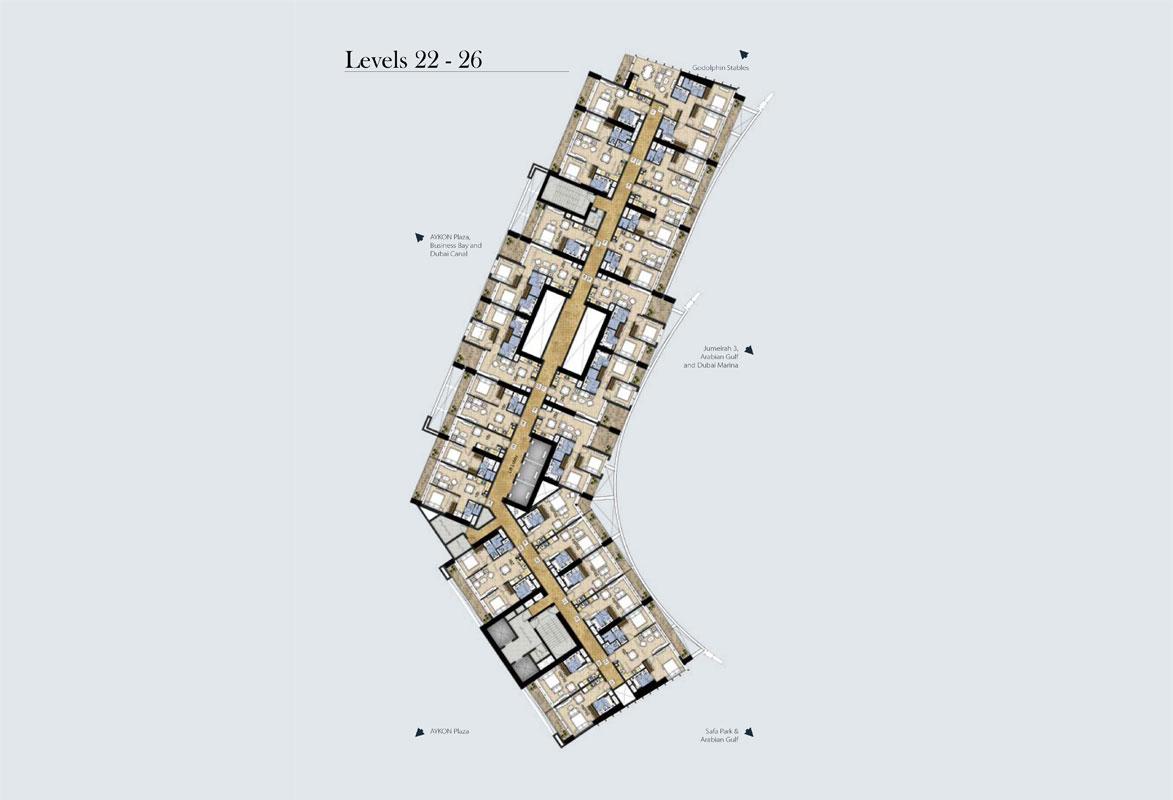 مخطط طوابق نموذجي، المستوى -22-26