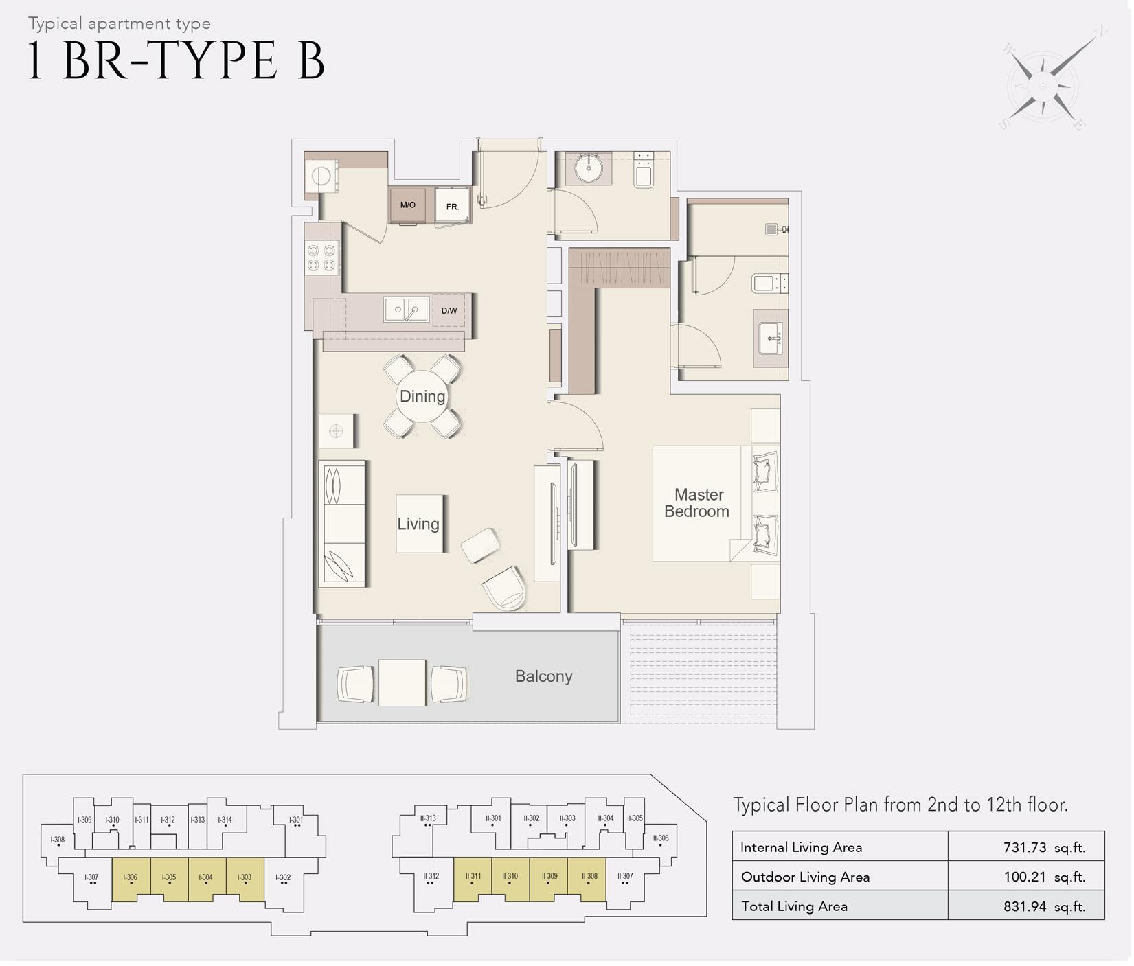 غرفة نوم واحدة، نوع B، حجم 831 قدم مربع