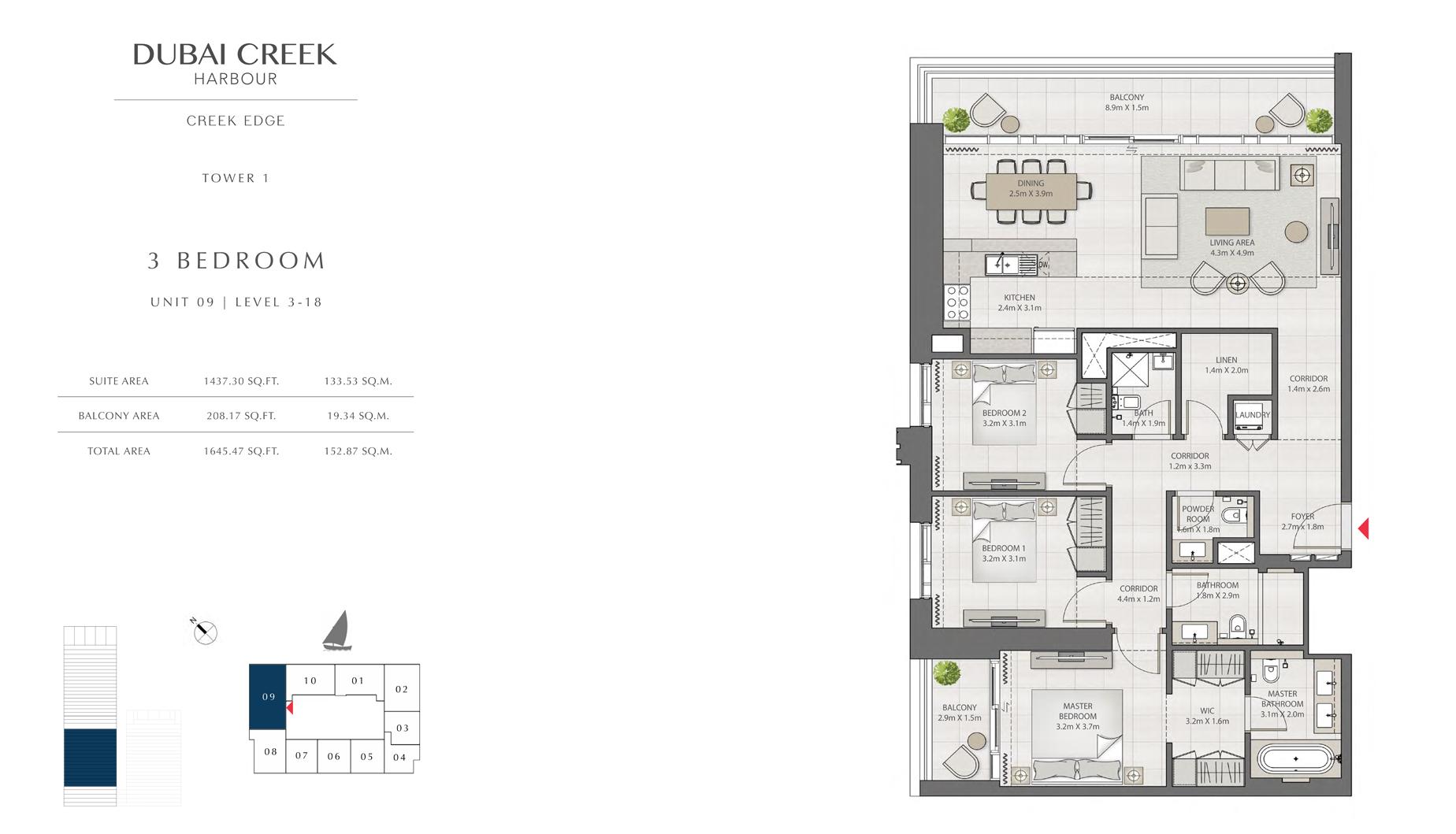 3 غرف نوم، برج 1، وحدة 09 المستوى 3-18  حجم 1645 قدم مربع