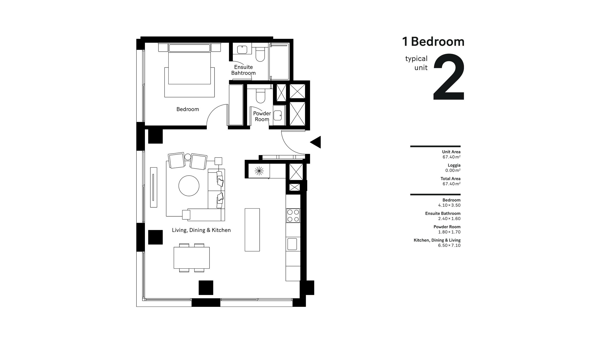 غرفة نوم واحدة، وحدة نموذجية 2، حجم 67.40 متر مربع