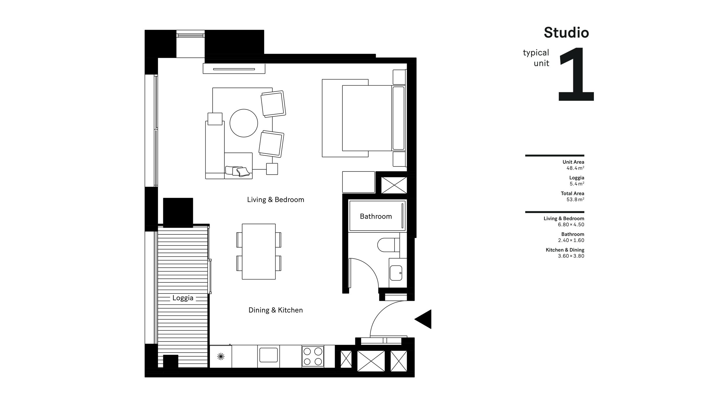 استوديو، وحدة نموذجية 1، حجم 53.8 متر مربع