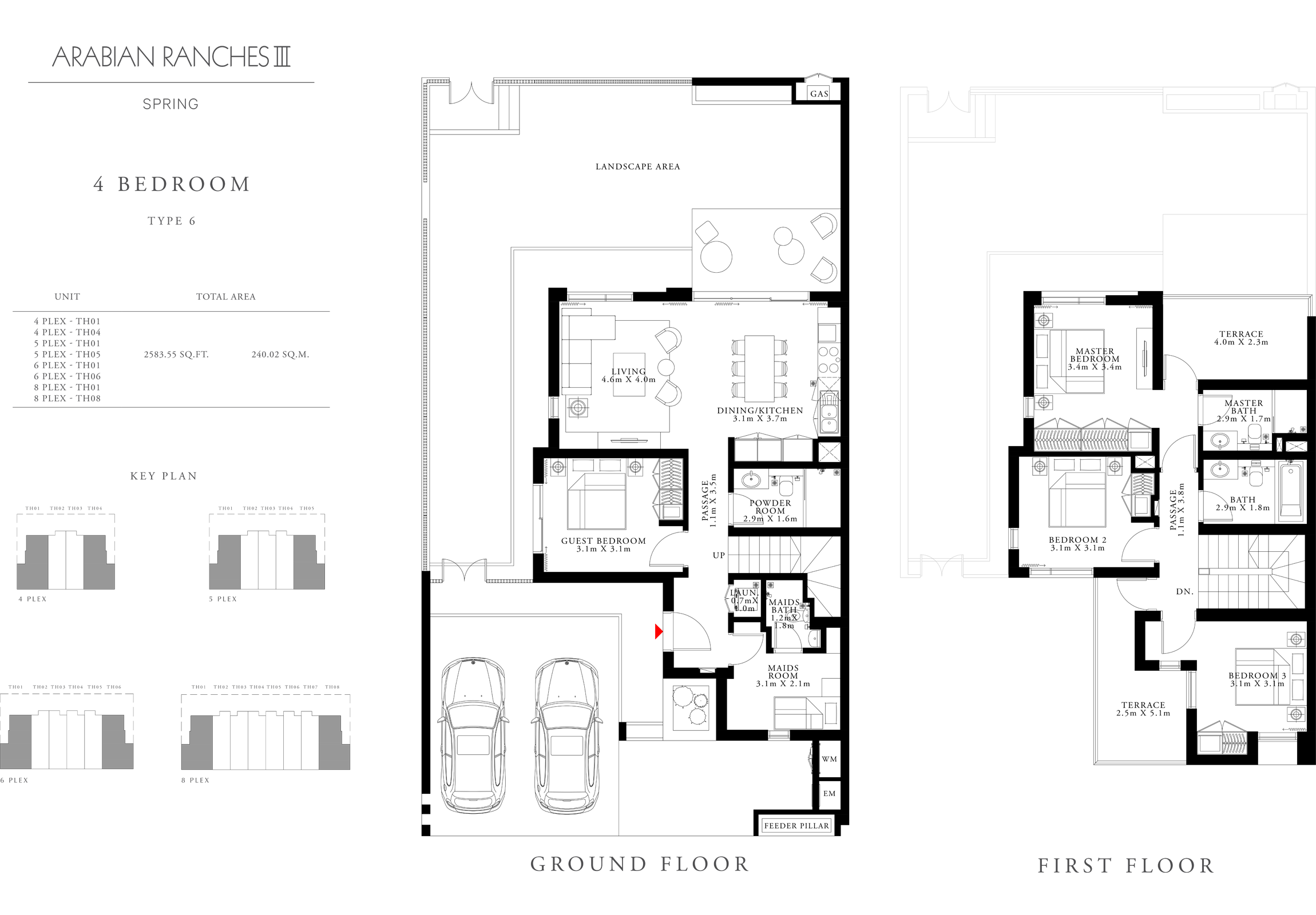 4 غرف نوم، نوع 6، حجم 2583.55 قدم مربع