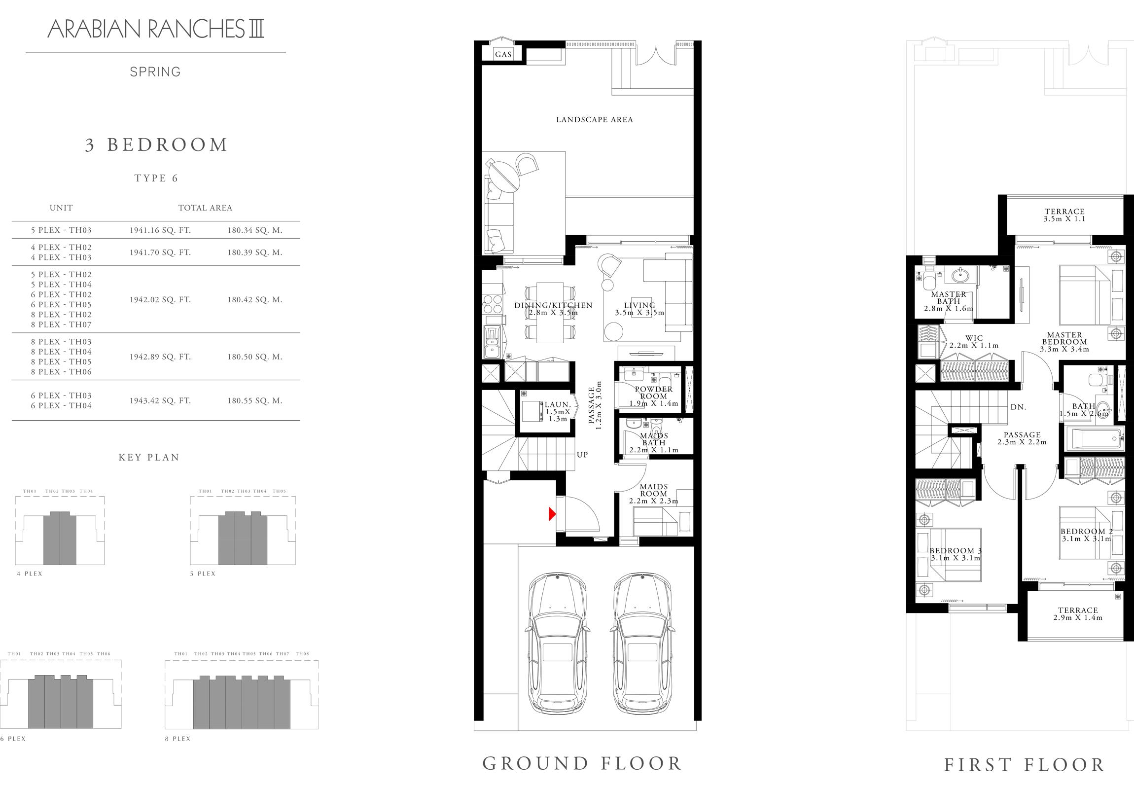 3 غرف نوم، نوع 6، حجم 1943.42 قدم مربع