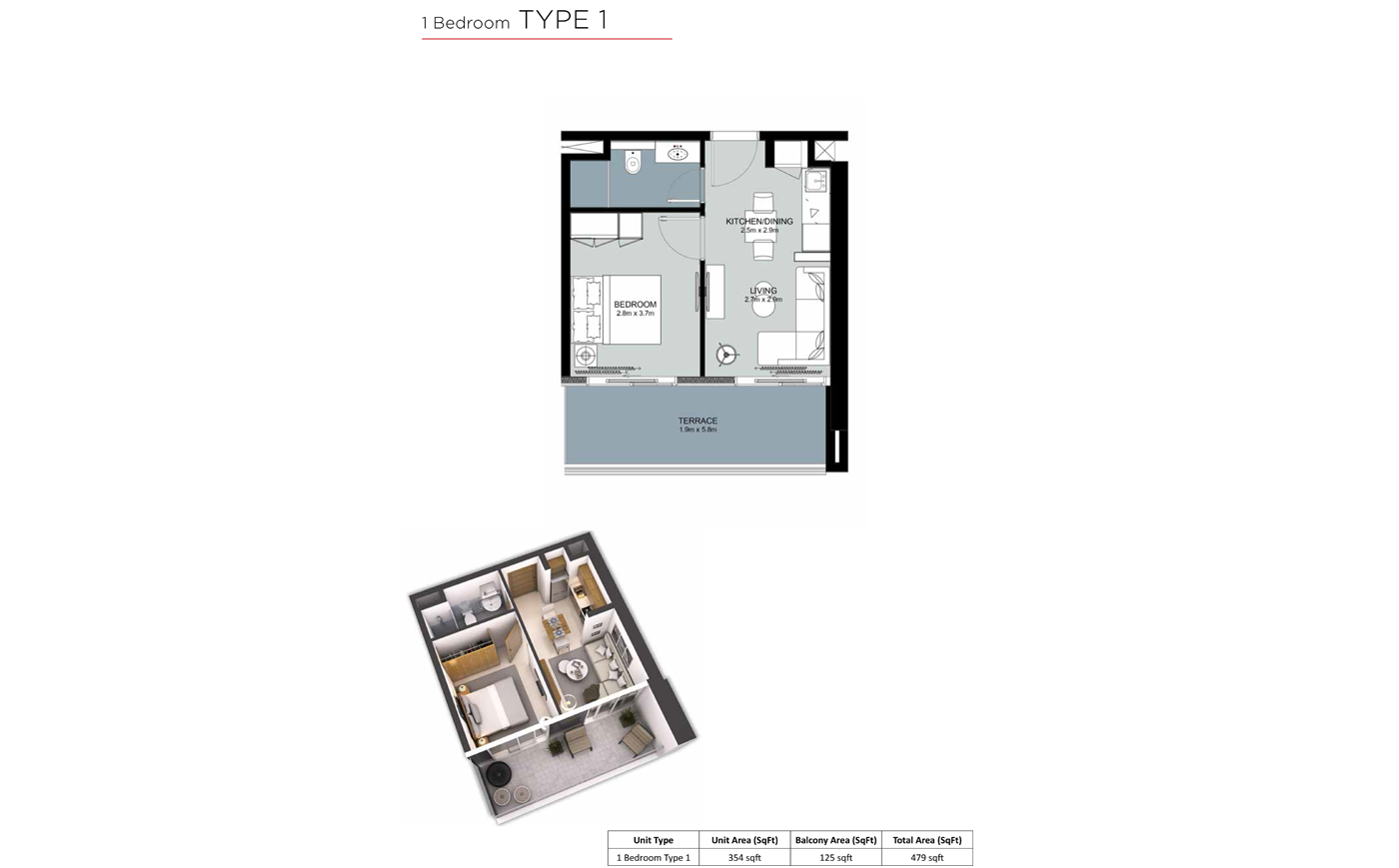 غرفة نوم  واحدة،  نوع 1، حجم 479 قدم مربع