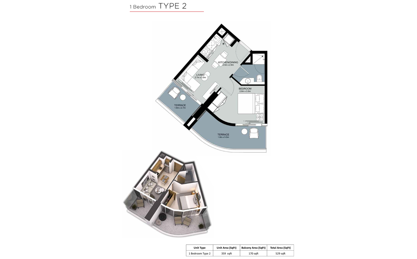 غرفة نوم  واحدة،  نوع 2 ، حجم 529 قدم مربع