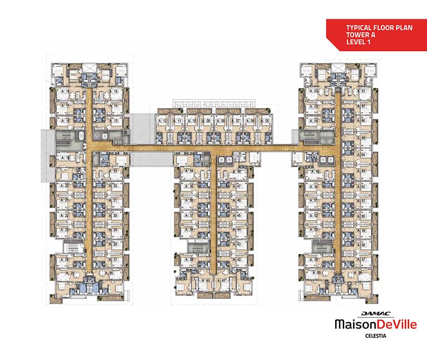 مخطط الطوابق النموذجي - برج A - مستوى 1