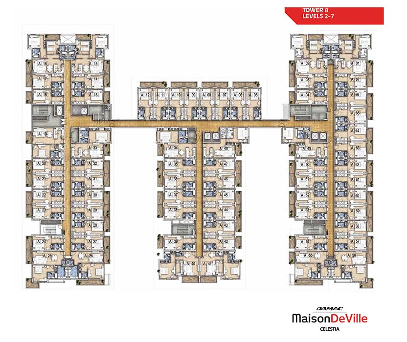 مخطط الطوابق النموذجي - برج A - مستوى 2 إلى 7