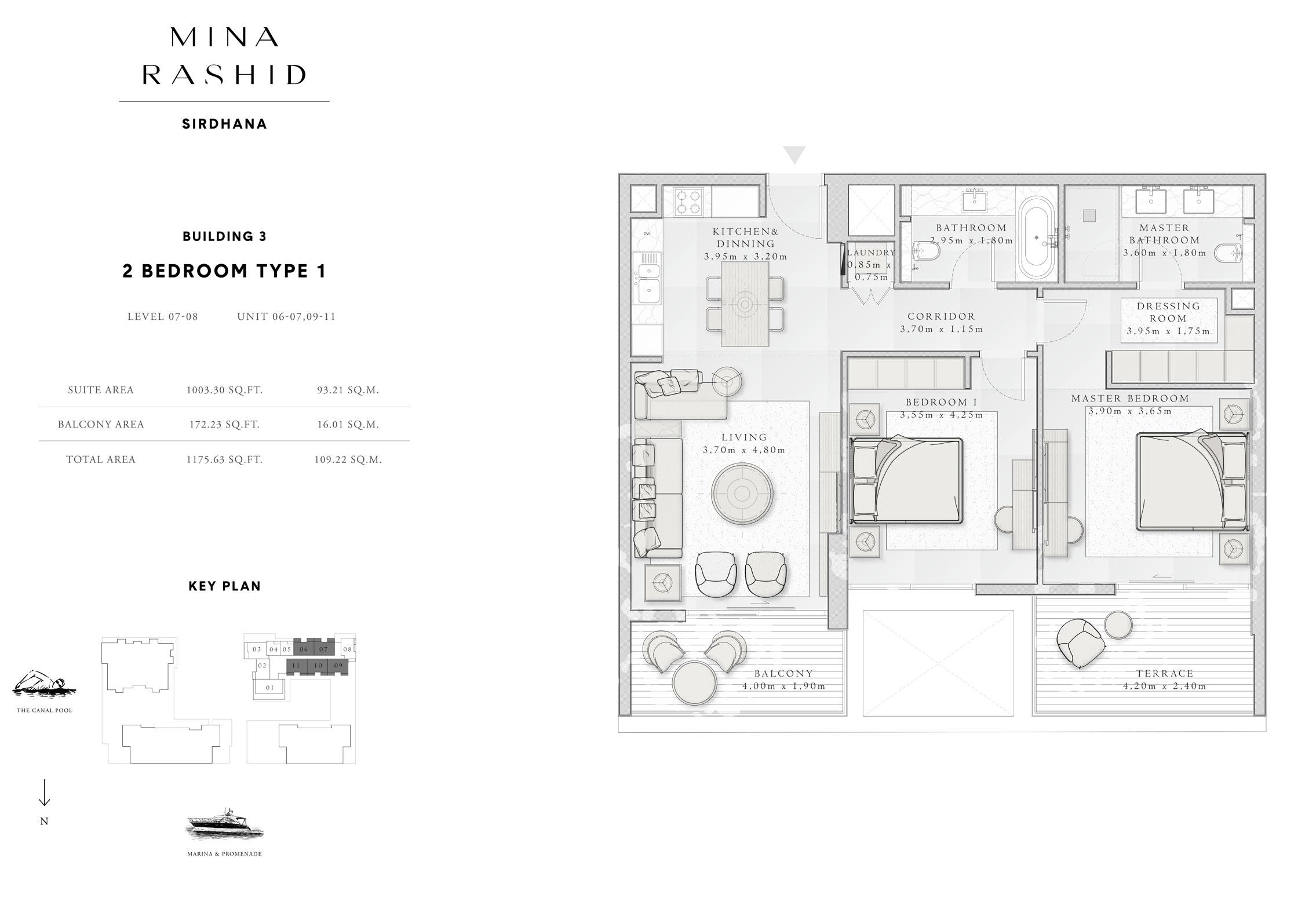 المبنى 3- غرفتي نوم،  نوع 1، المستوى 7 إلى 8، حجم-1175-قدم مربع