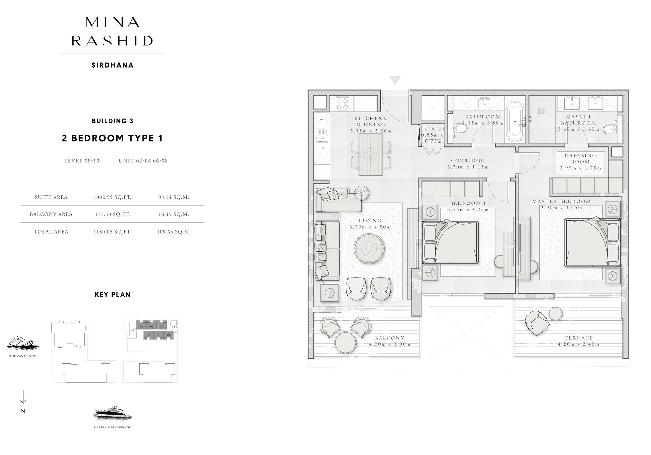 المبنى 3- غرفتي نوم،  نوع 1، المستوى 9 إلى 10، حجم-1180-قدم مربع