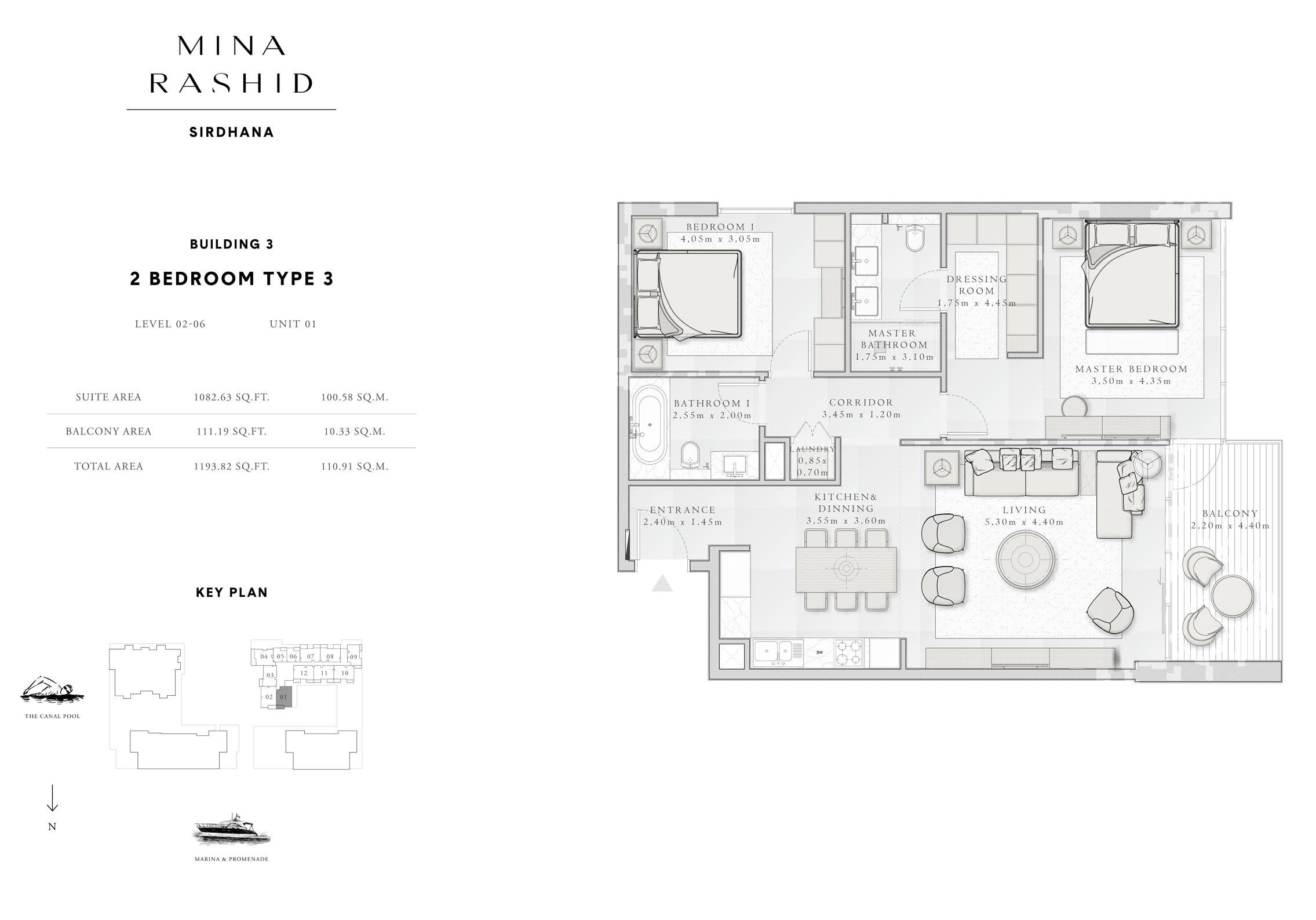 المبنى 3- غرفتي نوم،  نوع 3، المستوى 2 إلى 6، حجم-1193-قدم مربع