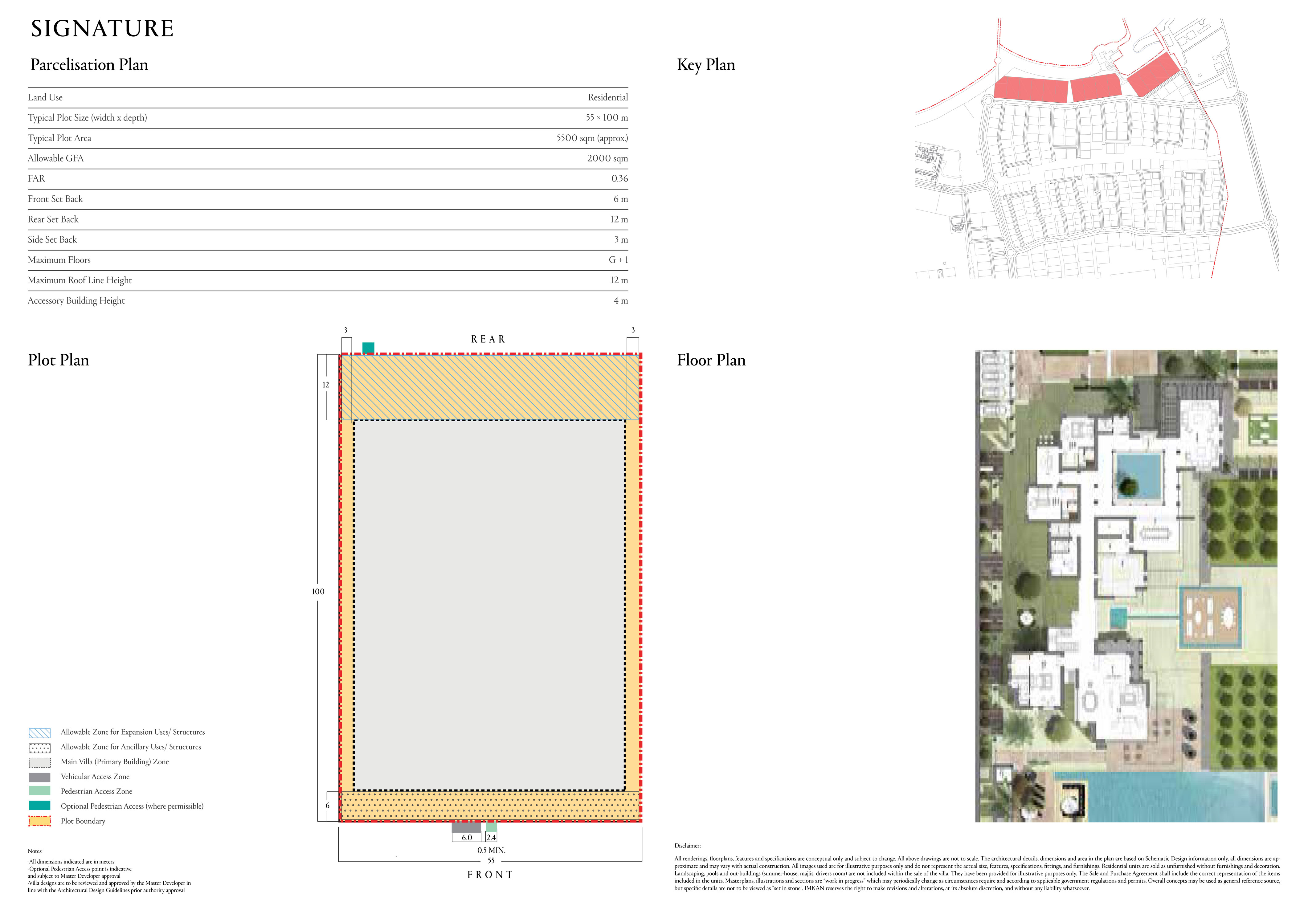 مساحة قطع أراضي نموذجية 5500 متر مربع (55 × 100 متر)