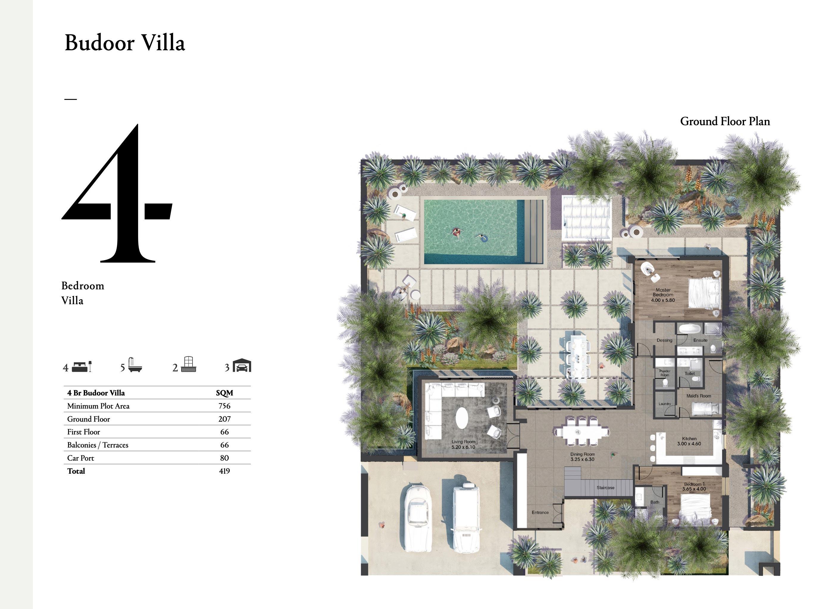 فيلا بدور - 4 غرف نوم بمساحة 419 متر مربع