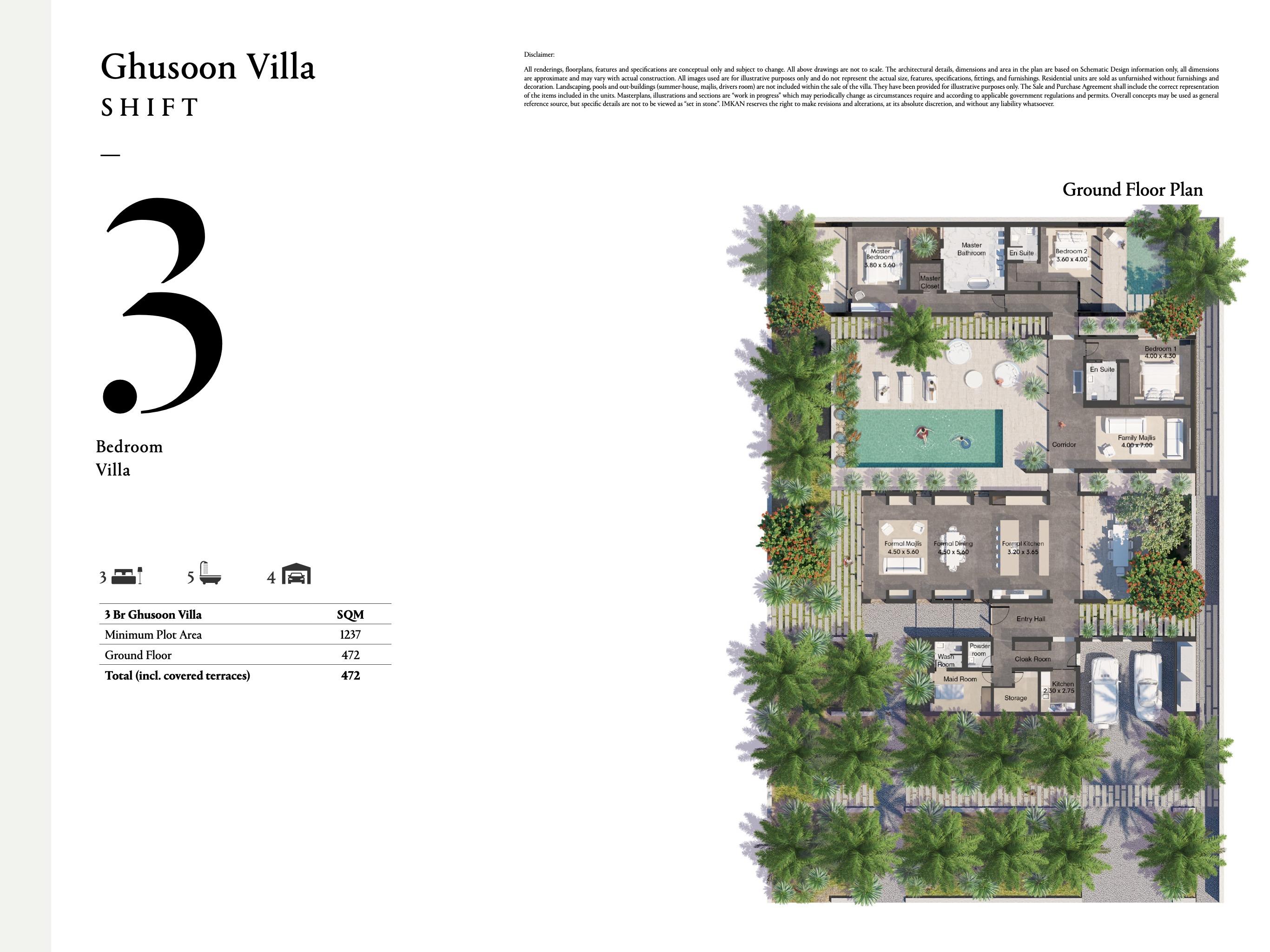 فيلا غصون - 3 غرف نوم بمساحة 472 متر مربع