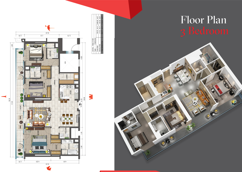 ثلاث غرف نوم - حجم 1730 قدم مربع