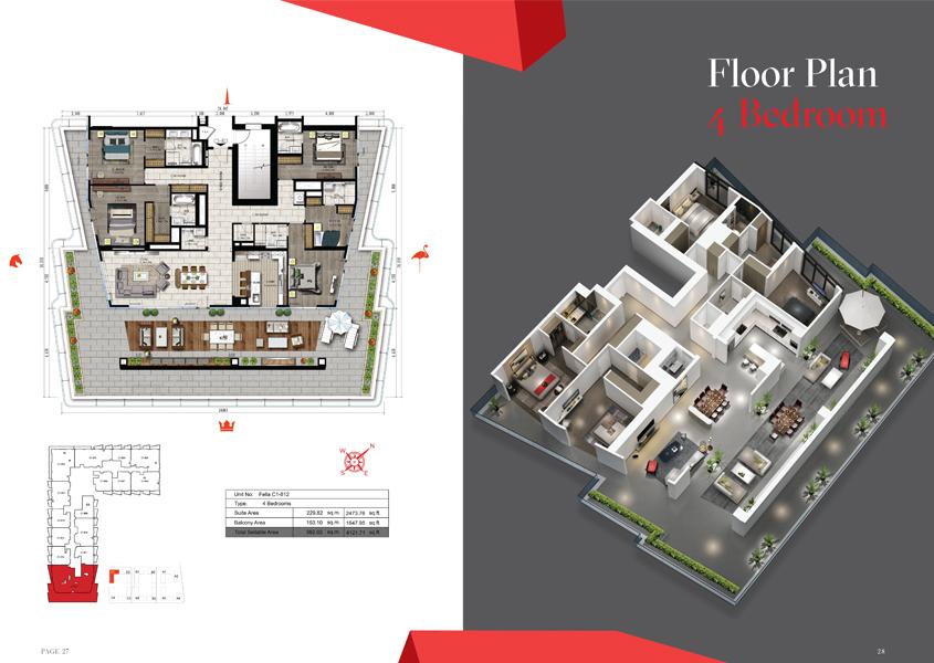 أربع غرف نوم - حجم 4121 قدم مربع