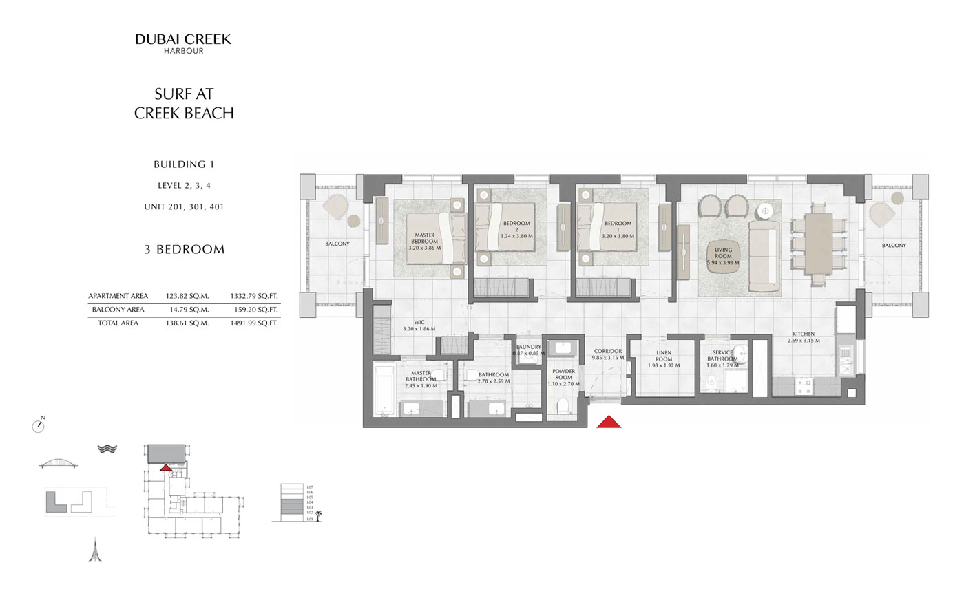 المبنى 1، 3 غرف نوم، المستوى 2-3-4، وحدة 201-301-401 ، حجم-1491.99 قدم مربع