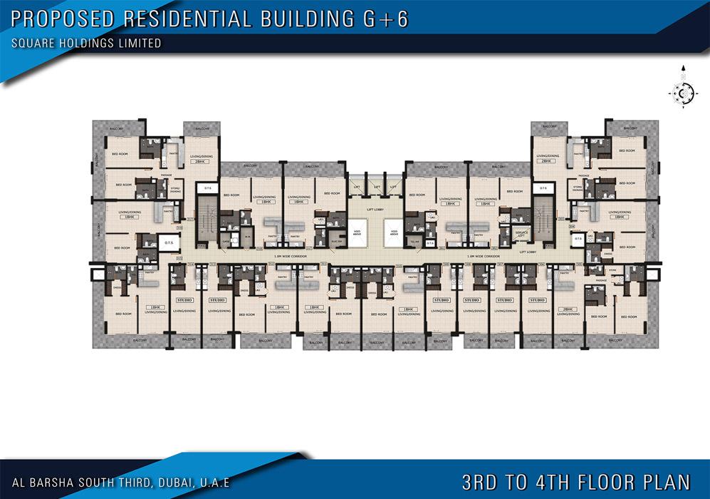 مخطط الطابق الثالث إلى الرابع