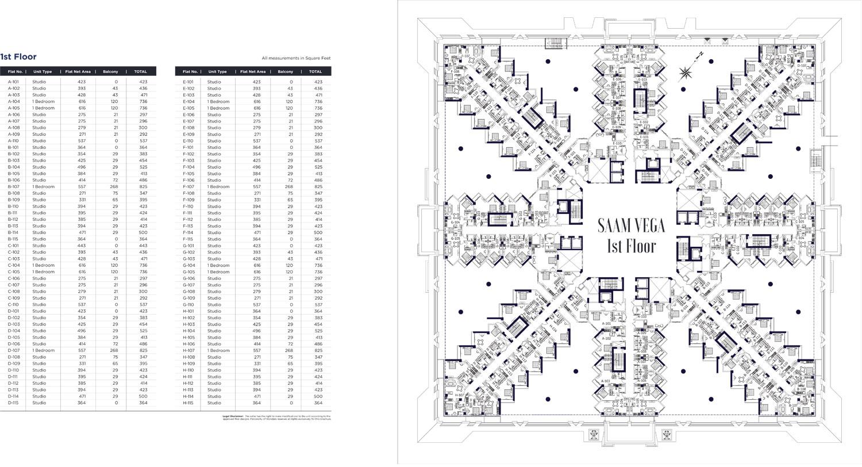 الطابق الأول - A101 - H115 ، الأحجام: 292 - 825 قدم مربع