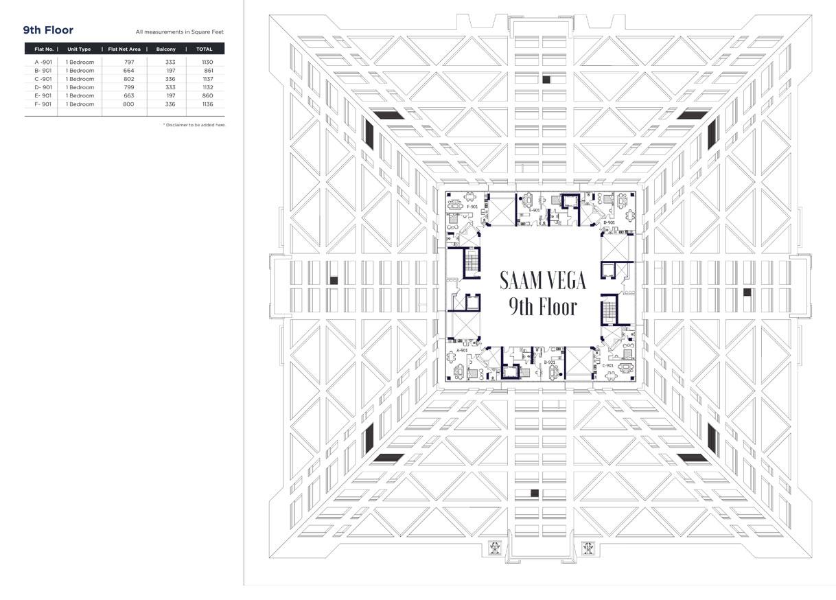 الطابق التاسع - A901 - F901 ، الأحجام: 860 - 1137 قدم مربع