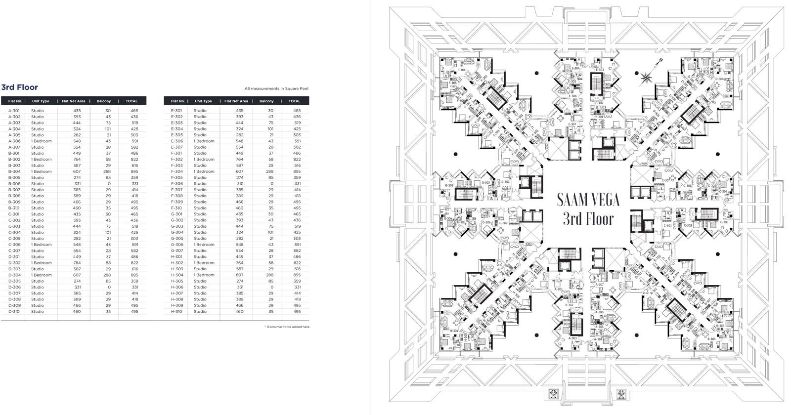 الطابق الثالث - A301 - H310 ، الأحجام: 303 - 895 قدم مربع