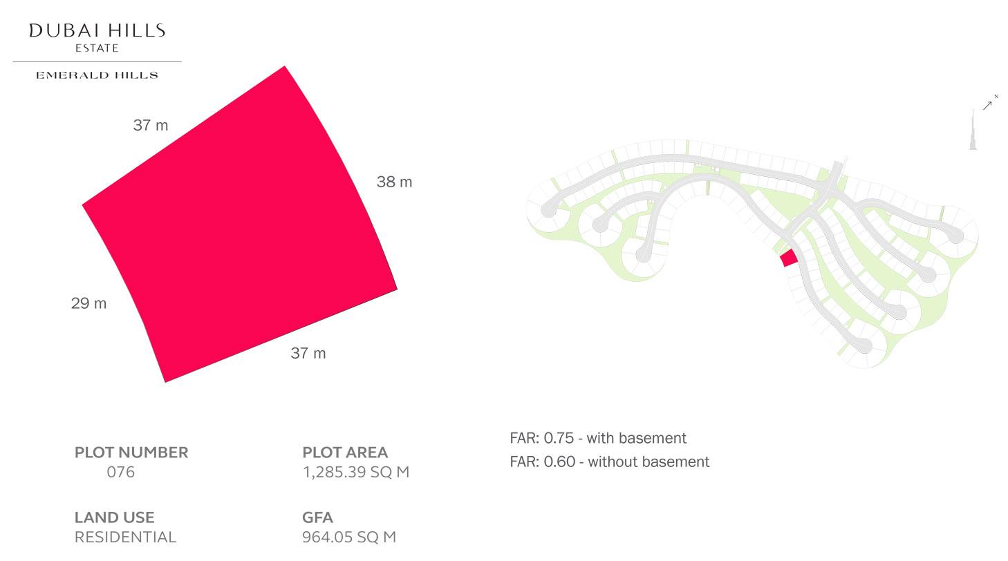 قطعة أرض سكنية - رقم 76 ، حجم  1285.39 متر مربع
