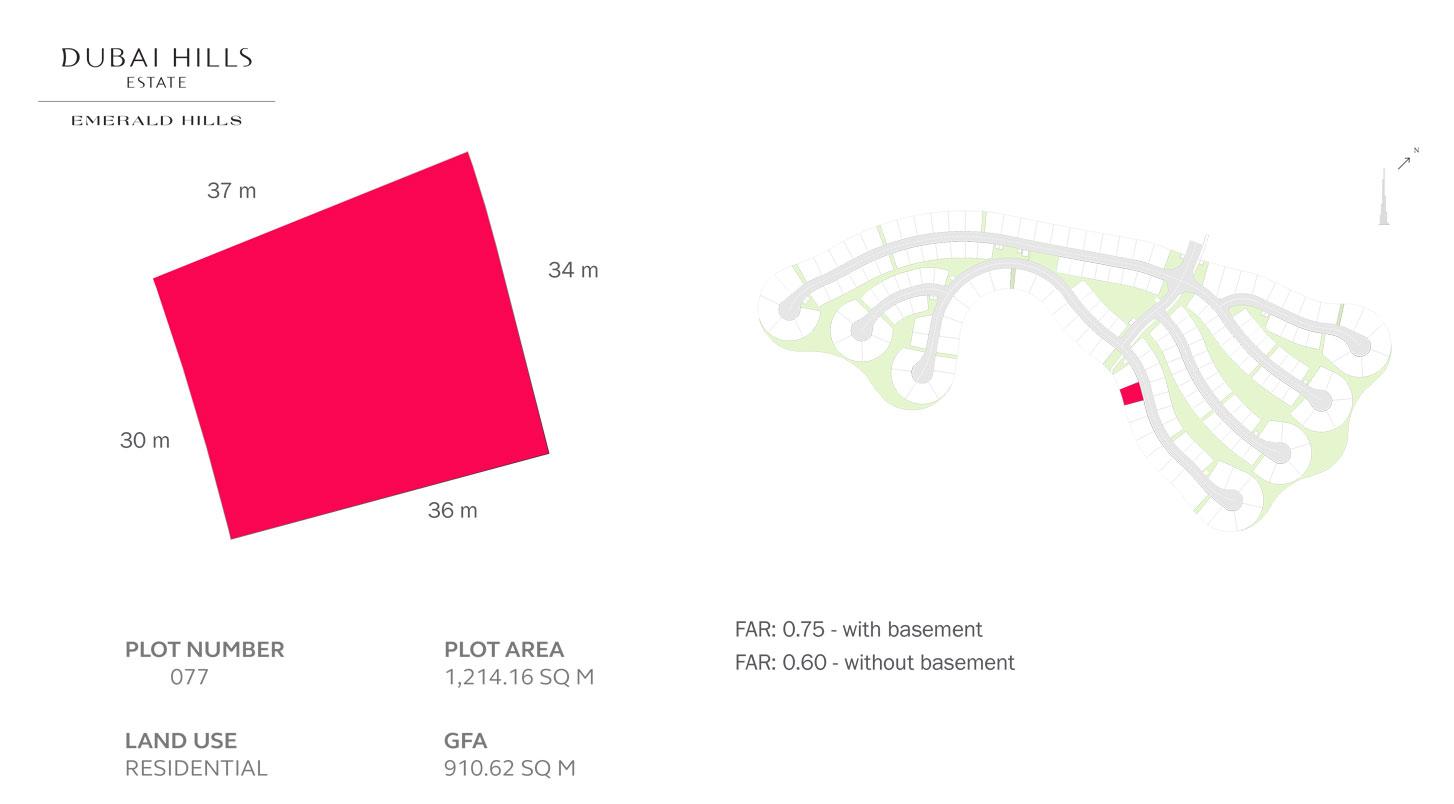 قطعة أرض سكنية - رقم 77 ، - حجم  1214.16 متر مربع