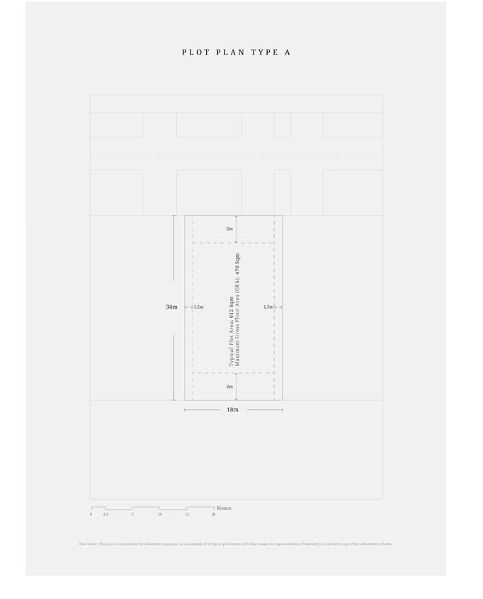 مخطط قطع أرض – النوع A ، النموذجي ، حجم 612 متر مربع