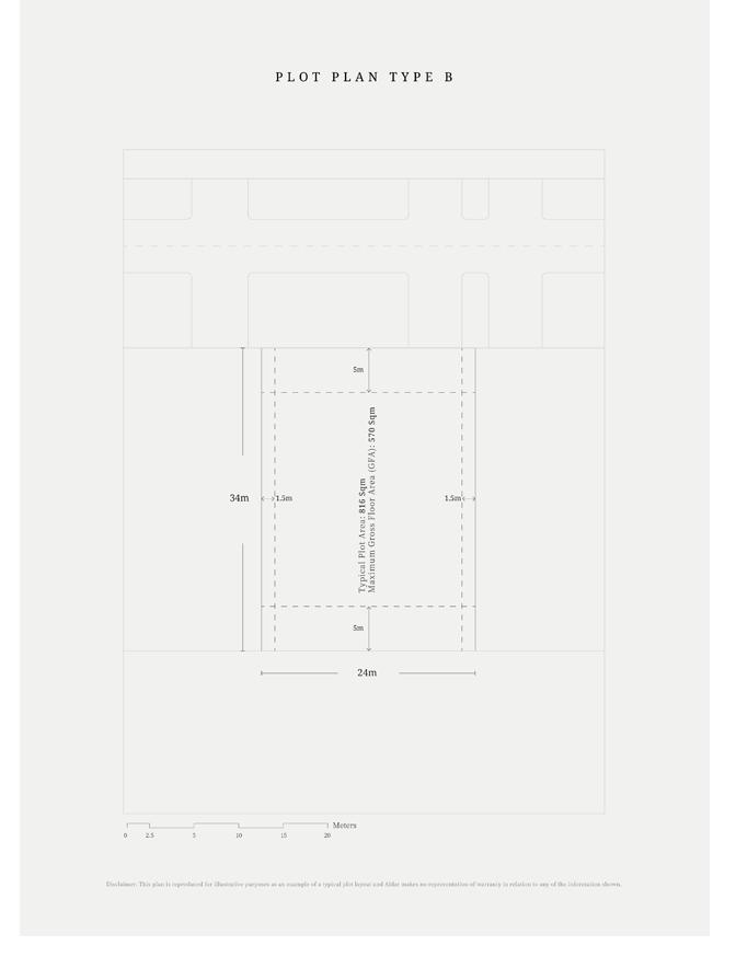 مخطط قطع أرض – النوع B ، النموذجي ، حجم 816 متر مربع