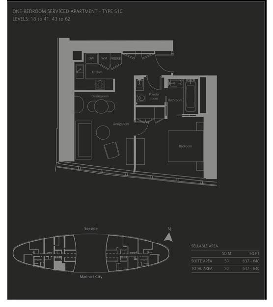 غرفة نوم واحدة، نوع S1C ، حجم  -637-640 قدم مربع