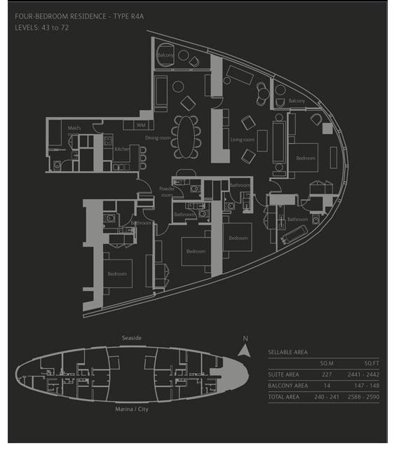 أربع غرف نوم، نوع R4A، حجم 2588-2590 قدم مربع