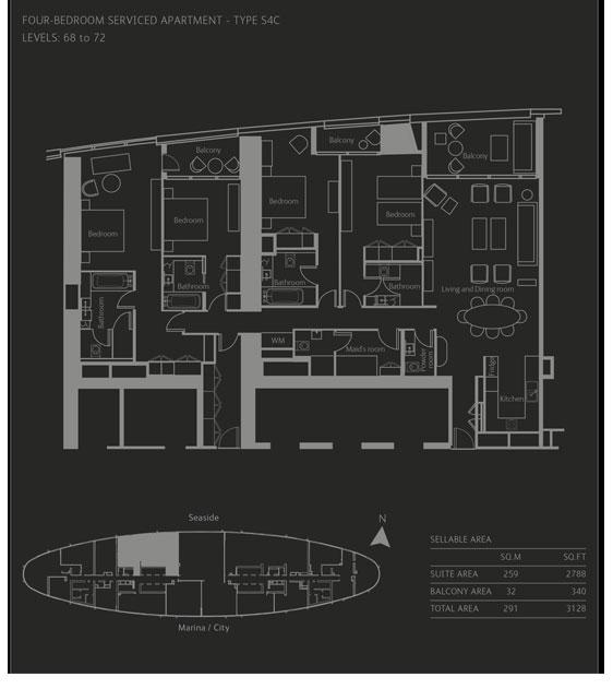 أربع غرف نوم، نوع R4A، حجم 3128 قدم مربع