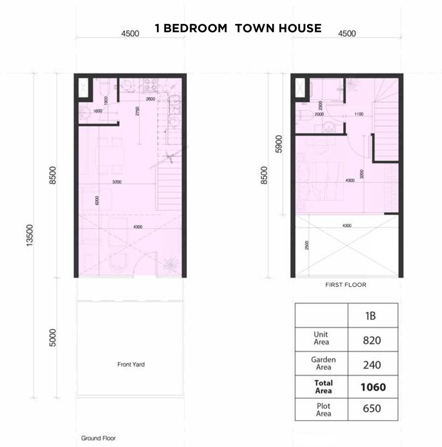 تاون هاوس، غرفة نوم واحدة، حجم 1060 قدم مربع