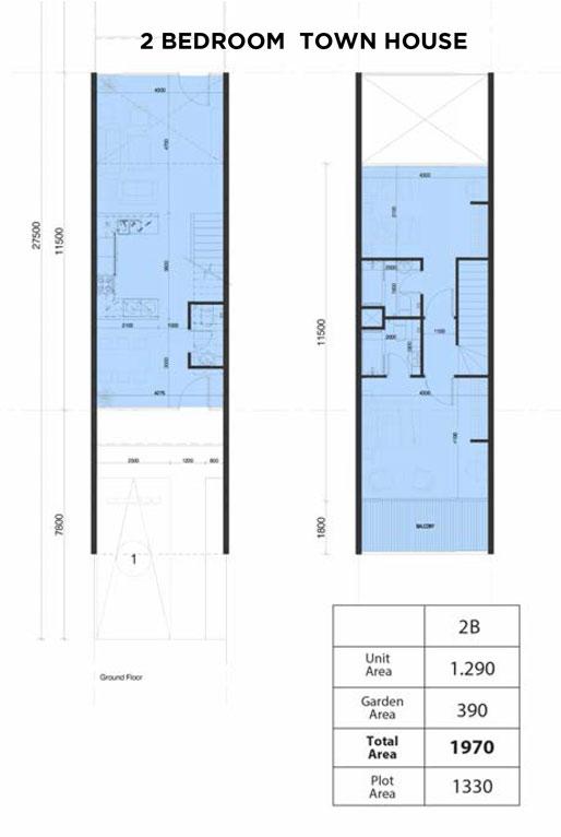 تاون هاوس، غرفتي نوم، حجم 1970 قدم مربع