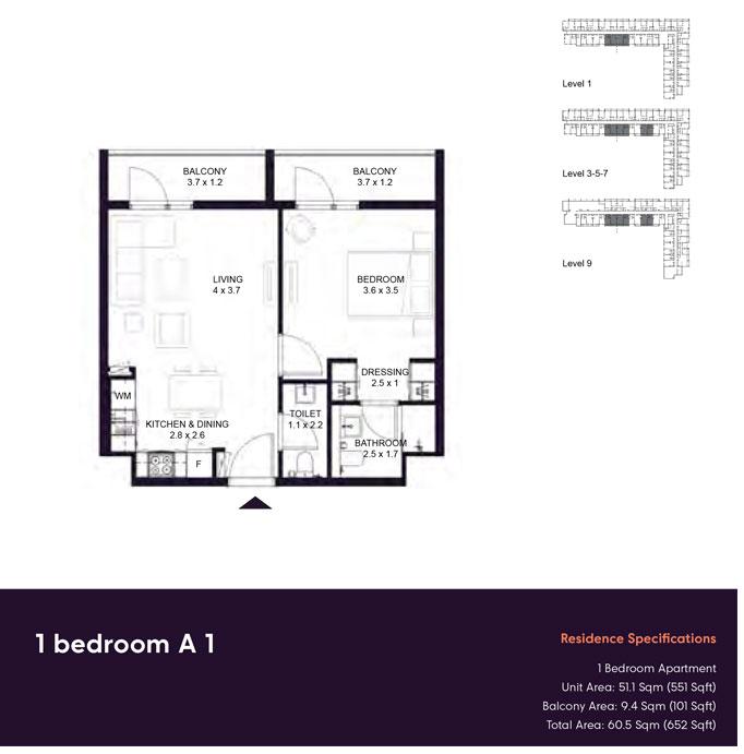 غرفة نوم واحدة  -A1 ، - ، حجم 652  قدم مربع