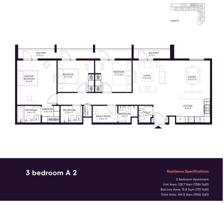 3 غرف نوم  A2 ، حجم 1556 قدم مربع
