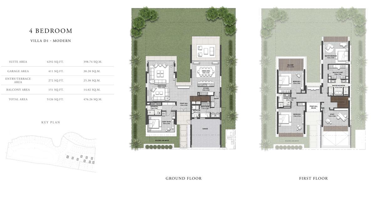 4 غرف نوم ، فيلا D1 ، حجم 5126 قدم مربع