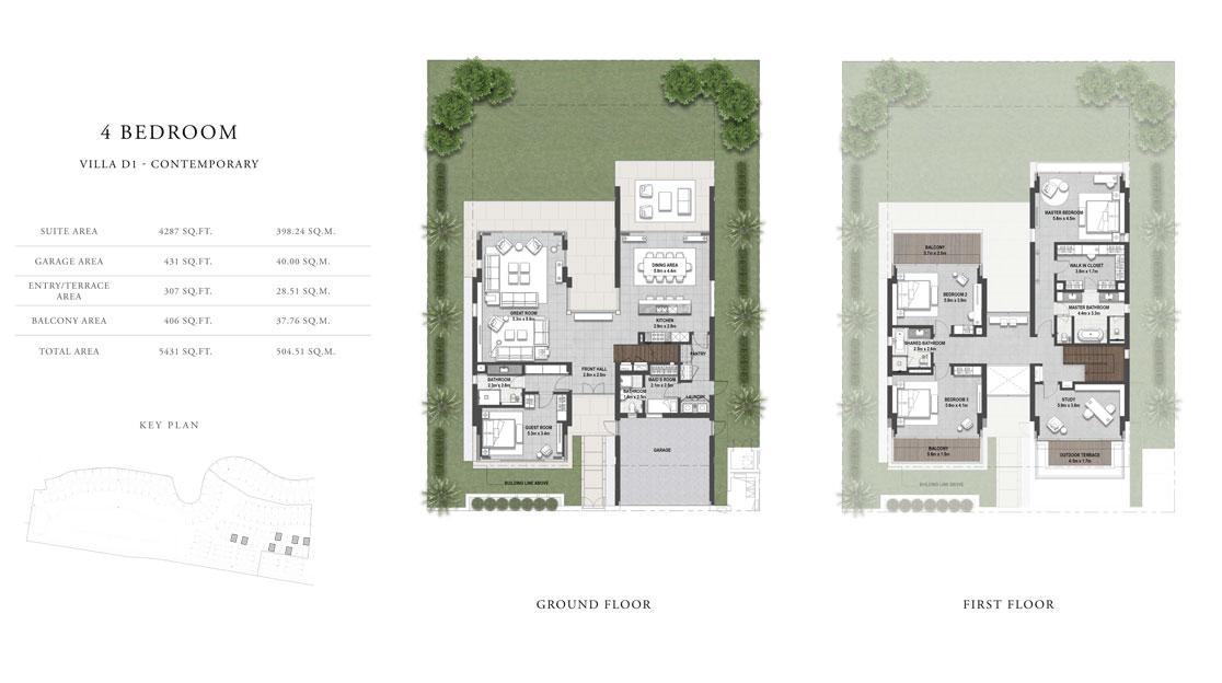 4 غرف نوم ، فيلا D1 ، حجم  5431 قدم مربع