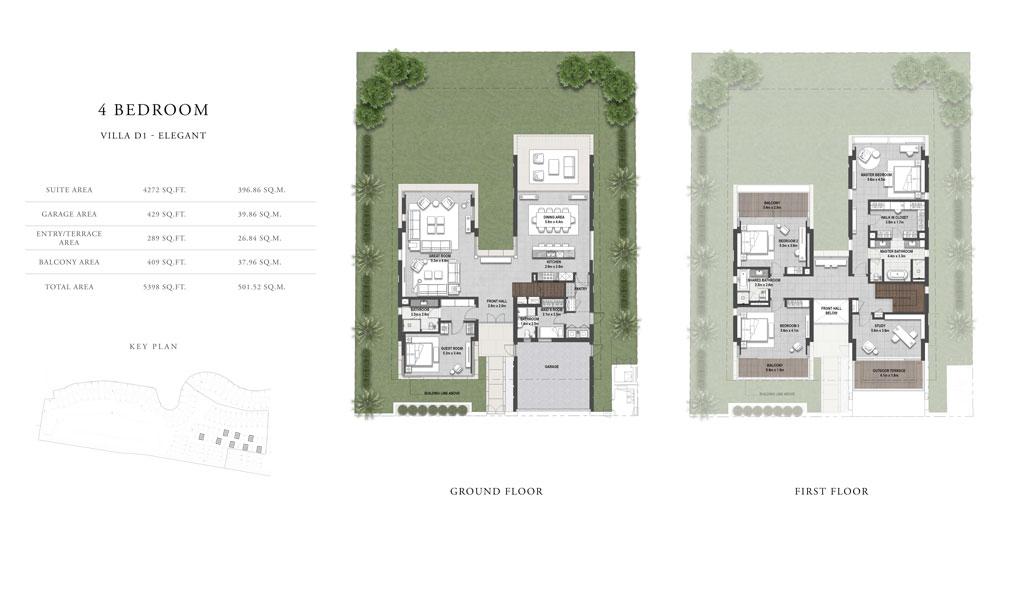 4 غرف نوم ، فيلا D1 ، حجم 5598 قدم مربع