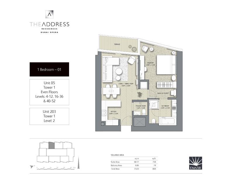برج 1 ،  غرفة نوم وحدة 05 ، 203 ، حجم 808 قدم مربع