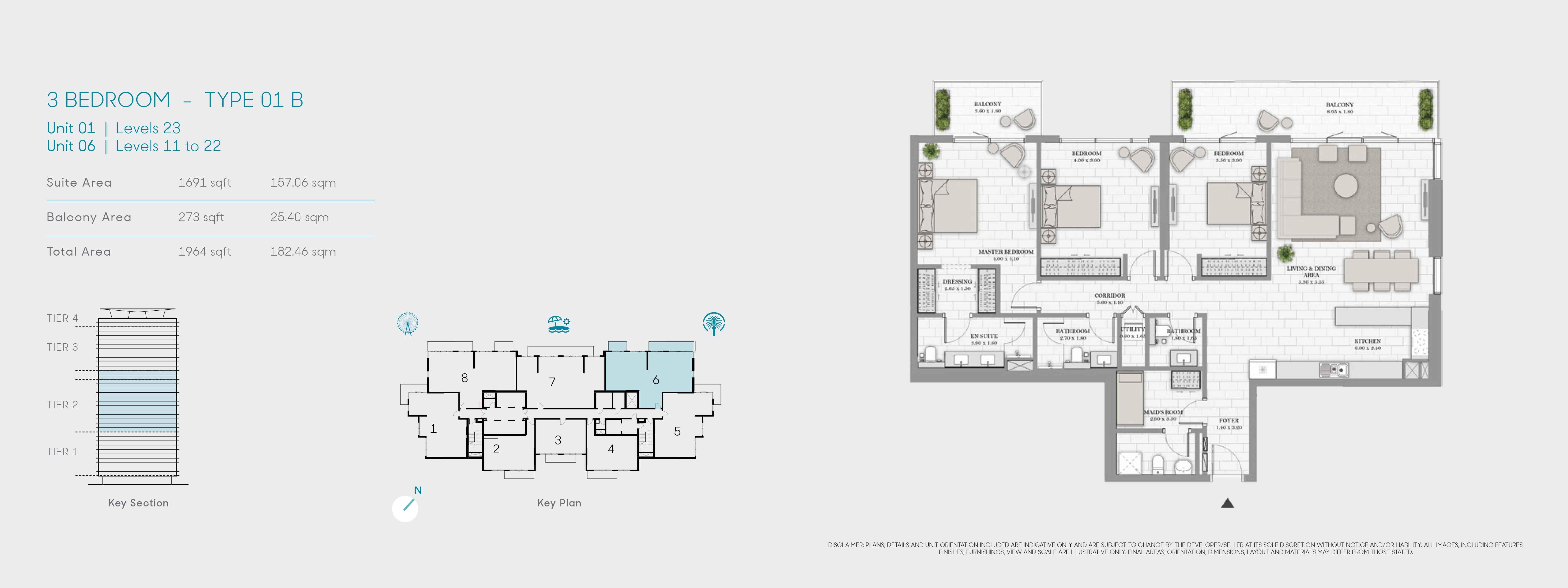 3 غرف نوم،  نوع 01 B ، حجم 1964 قدم مربع