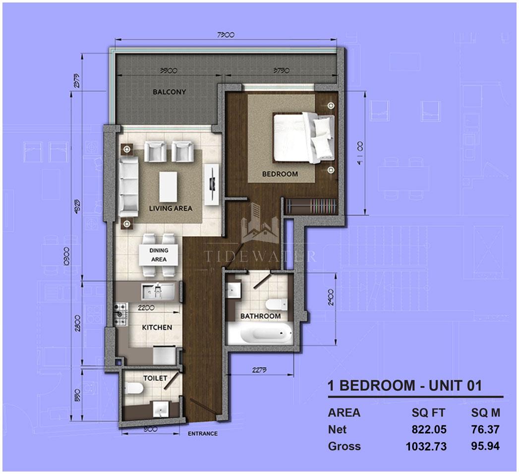 غرفة نوم واحدة 01 ، حجم 1032 قدم مربع