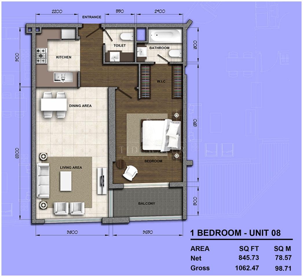 غرفة نوم واحدة 08 ، حجم 1062 قدم مربع