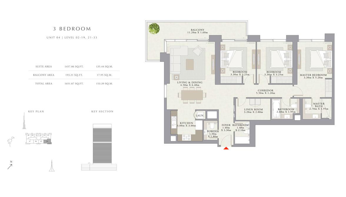 3 غرف نوم ، الوحدة -04 ، المستوى - 02-19 ، 21-33 ، حجم 1651.07 قدم مربع