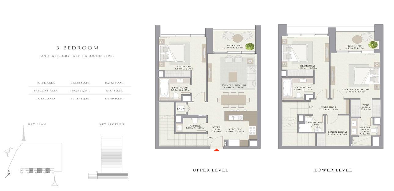 3 غرف نوم ، الوحدة- GO3 ، GO5 ، GO7 ، حجم 1901.87 قدم مربع