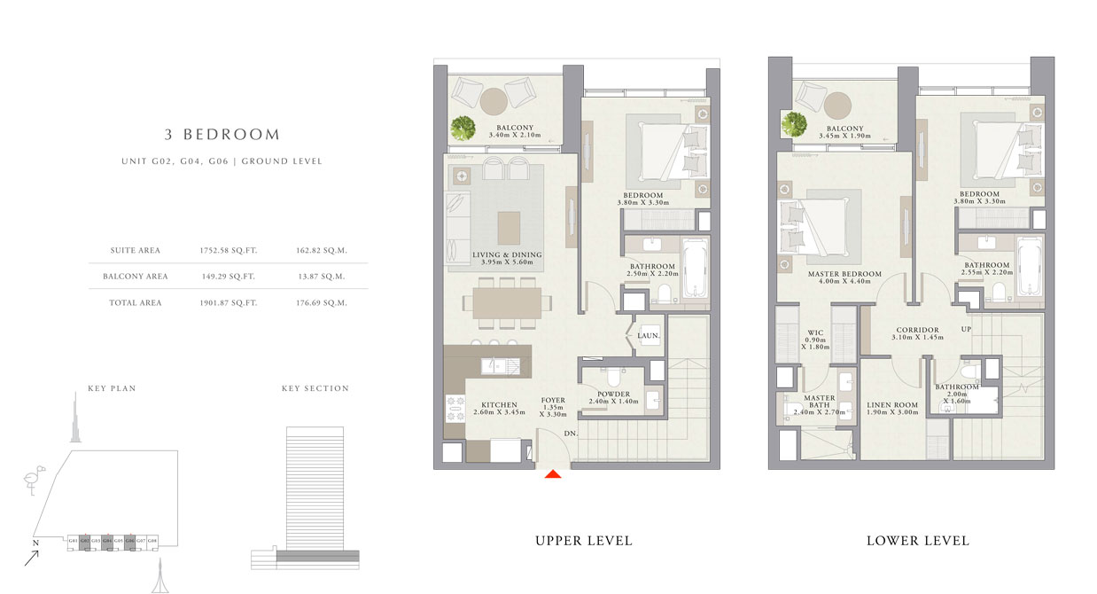 3 غرف نوم ، الوحدة- GO2 ، GO4 ، GO6 ، حجم 1901.87 قدم مربع