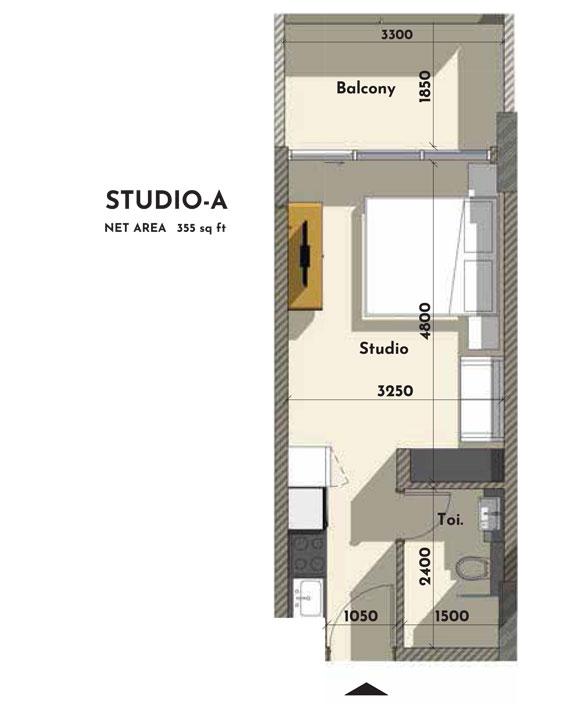 استوديو - A ، حجم - 355 - قدم مربع
