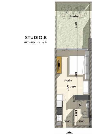 استوديو - B ، حجم - 450 - قدم مربع