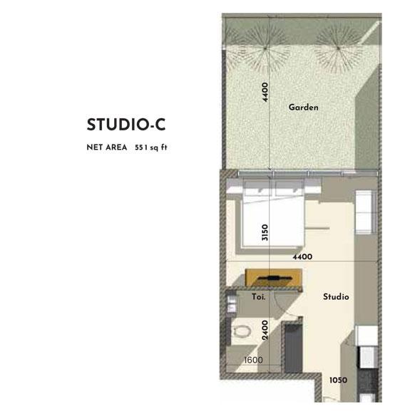 استوديو - C ، حجم - 551 - قدم مربع