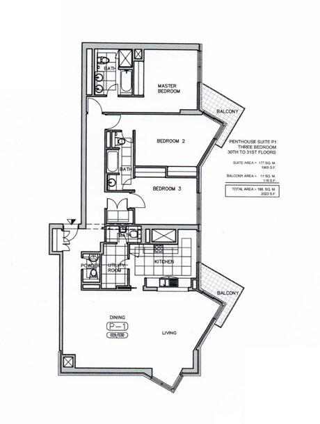 بنتهاوس - P1  ، ثلاث غرف نوم، من 30 إلى 31 ، حجم 2023 قدم مربع